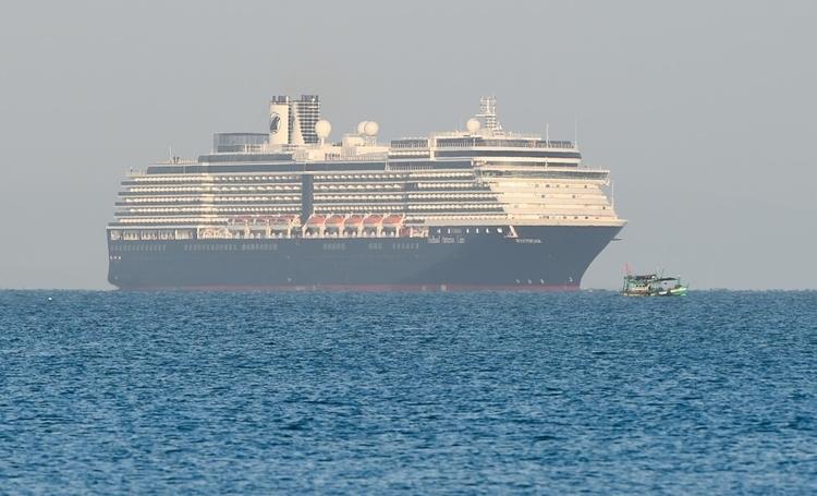 Du thuyền MS Westerdam tiếp cận cảngSihanoukville, Campuchia, hôm nay. Ảnh: AFP.