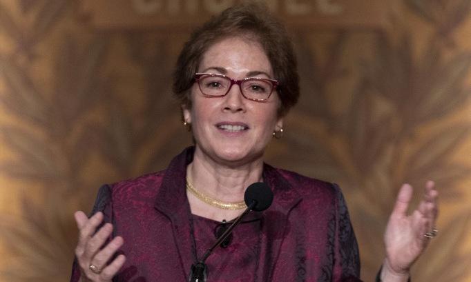 Cựu đại sứ Yovanovitch nói chuyện tại Đại học Georgetown hôm 12/2. Ảnh: AFP.