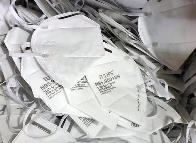Số khẩu trang giả tại Công ty Việt Hàn. Ảnh: Công an cung cấp.