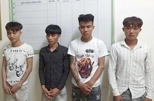 Bốn bị cáo thời điểm bị cảnh sát bắt. Ảnh: Gia Hân
