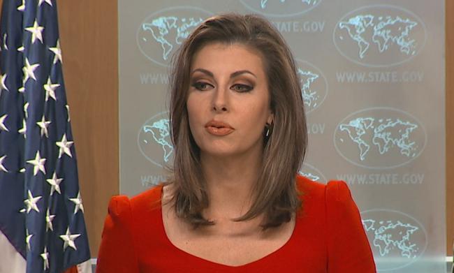Phát ngôn viên Ortagus trong một cuộc họp báo hồi năm 2019. Ảnh: Bộ Ngoại giao Mỹ.