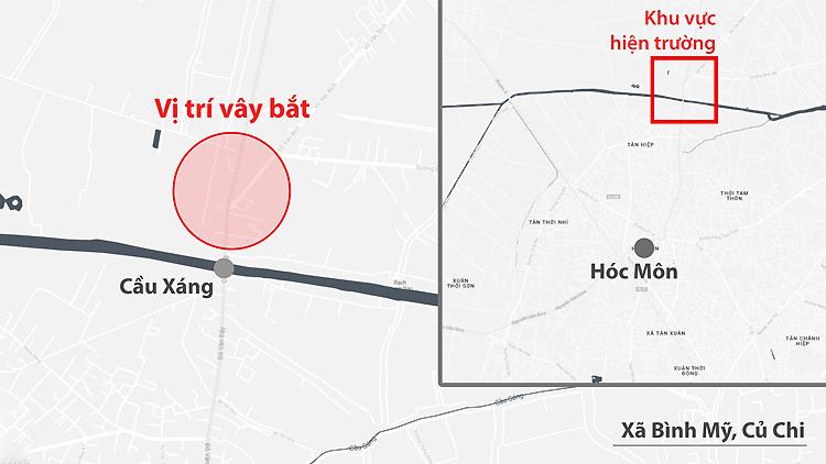 Khu vực cảnh sát vây bắt Tuấn Khỉ. Đồ họa: Khánh Hoàng.