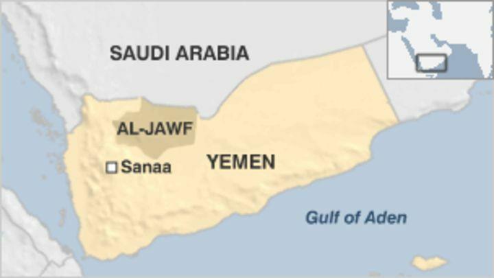 Vị trí tỉnh Al-Jawf của Yemen. Đồ họa: BBC.
