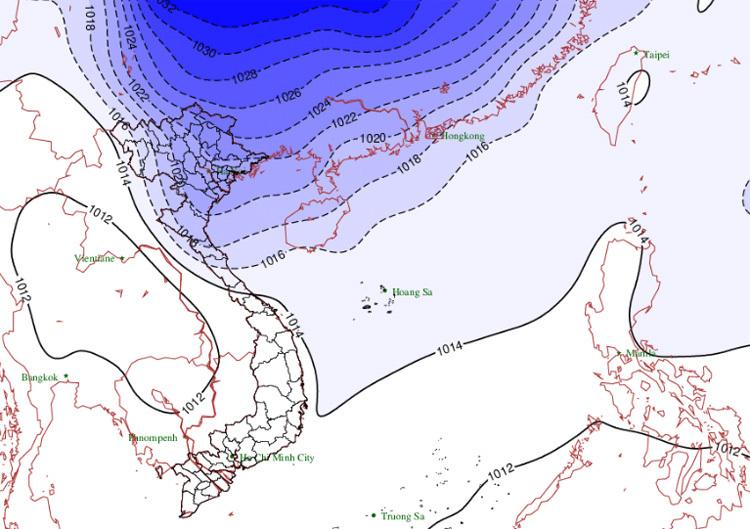 Bóng màu xanh tím là dự báo đường đi của gió mùa đông bắc. Ảnh: NCHMF.
