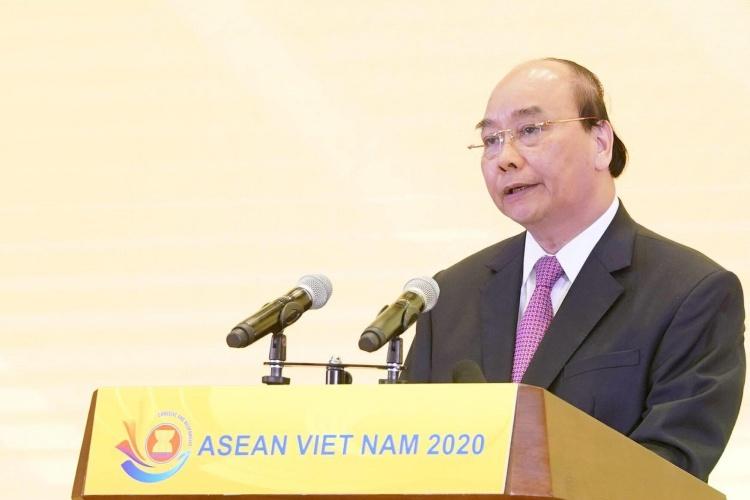 Thủ tướng Nguyễn Xuân Phúc tại Lễ Khởi động năm Chủ tịch ASEAN của Việt Nam ngày 6/1 tại Hà Nội. Ảnh:Hà Trung.