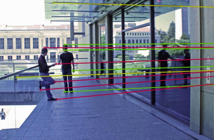 Khi kéo dài mãi, đường thẳng nối các điểm tương ứng giữa vật thể với ảnh phản chiếu sẽ phải hội tụ tại một điểm. Ảnh: BBC.