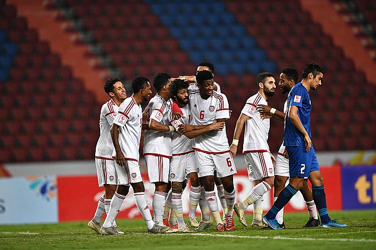 Cầu thủ UAE mừng bàn mở tỷ số. Ảnh: AFC.