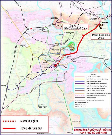 Lộ trình tuyến Metro Số 1, đoạn đi ngầm (đường màu đỏ đứt đoạn dài 2,6 km). Ảnh: MAUR