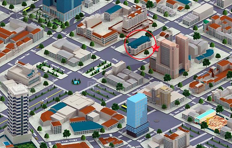 Đoạn tường vây được phá dỡ nằm dưới Nhà hát thành phố (vòng tròn đỏ),  nối 2 đoạn ngầm: Nhà hát - Ba Son và Nhà hát - Bến Thành. Ảnh:  Diadiem.com