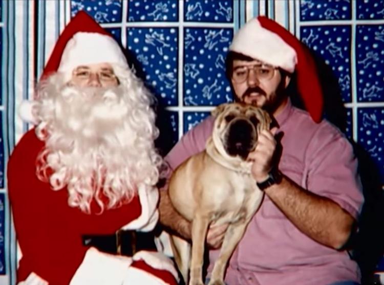 James (phải) bế con chó Shar Pei trên tay. Ảnh: Filmrise.