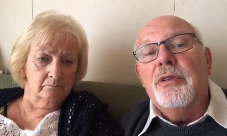 Vợ chồng Sally và David Abel trong một video chia sẻ về tình hình trên thuyền Diamond Princess. Ảnh: Facebook/David Abel.