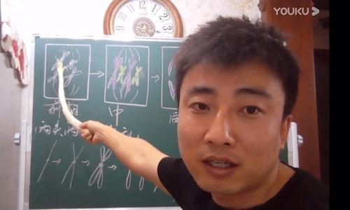 Thầy Wang sử dụng cây hành dài làm que chỉ bảng khi dạy học trực tuyến. Ảnh: Wang Yu.