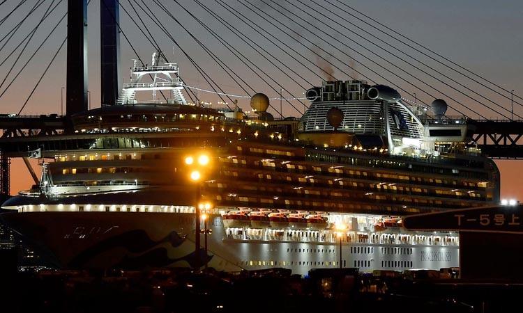 Du thuyền Diamond Princess tại cảng Yokohama, Nhật Bản hôm 18/2. Ảnh: AP.