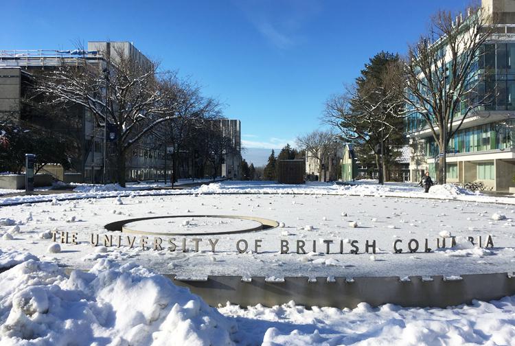 Đại học British Columbia (UBC) trong băng tuyết. Ảnh: Anh Thi