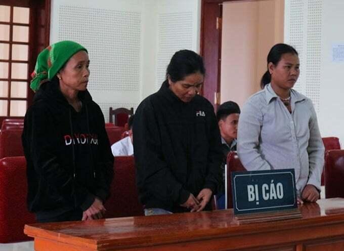 Các bị cáo tại phiên tòa.