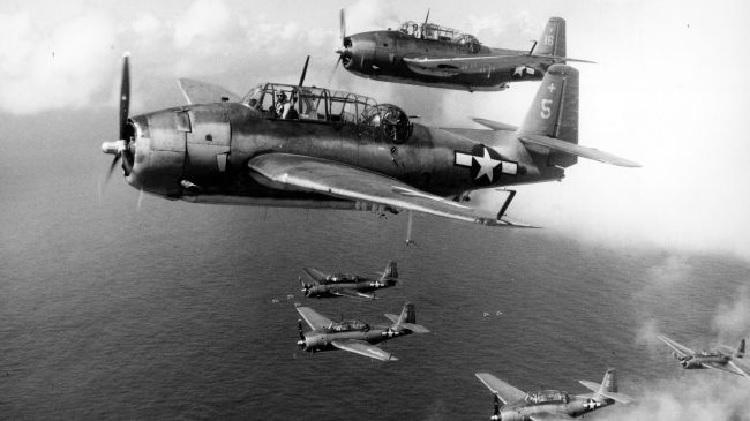Máy bay ném  ngư lôi Grumman Avengers của Hải quân Mỹ năm 1944. Ảnh: United States Navy Museum of Naval Aviation