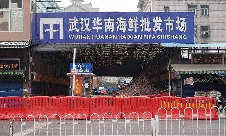 Chợ Huanan bị đóng cửa từ ngày 1/1/2020. Ảnh: Yahoo.