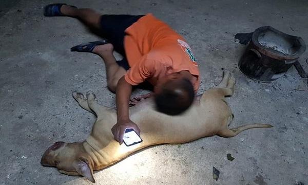 Suriyon thương tiếc trước cái chết của con chó. Ảnh: Daily Star.
