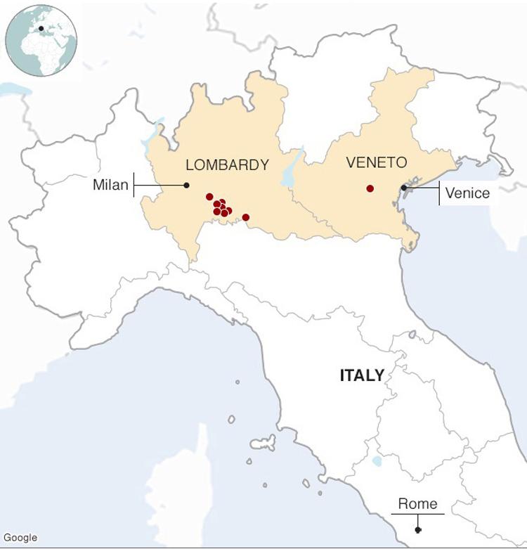 Những thị trấn bị phong tỏa (chấm đỏ)ở vùng Lombardy và Veneto, phía bắc Italy. Ảnh:BBC.