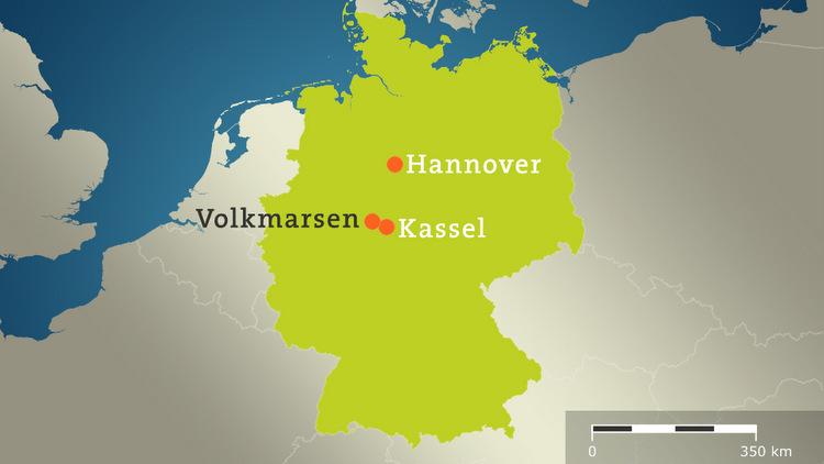 Vị trí thị trấn Volkmarsen. Đồ họa: Tagesschau.