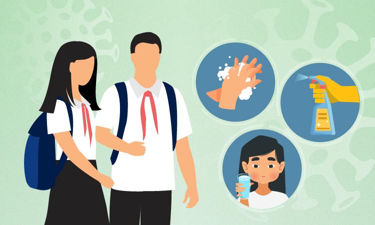 Bộ Y tế hướng dẫn phòng chống corona cho học sinh. Đồ họa: Tạ Lư