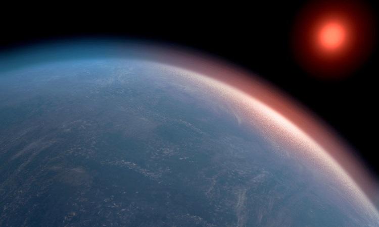 Hình ảnh đồ họa mô phỏng ngoại hành tinh K2-18b. Ảnh: Science.