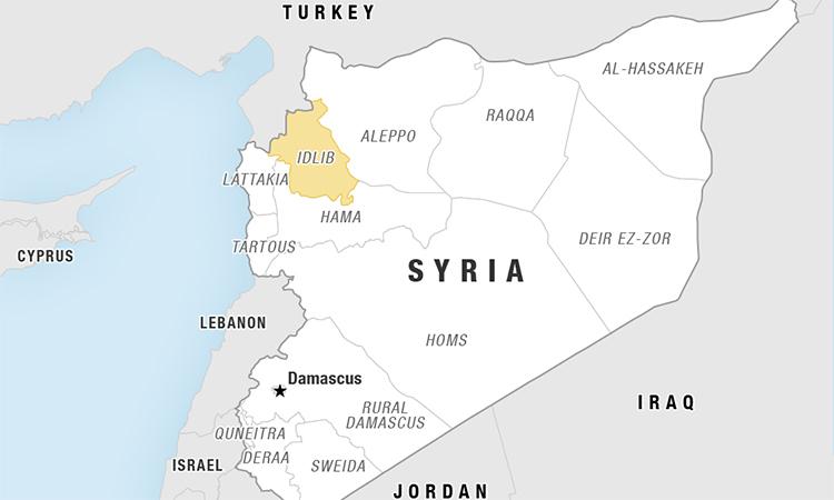 Vị trí tỉnh Idlib (màu vàng), Syria. Đồ họa: NPR.