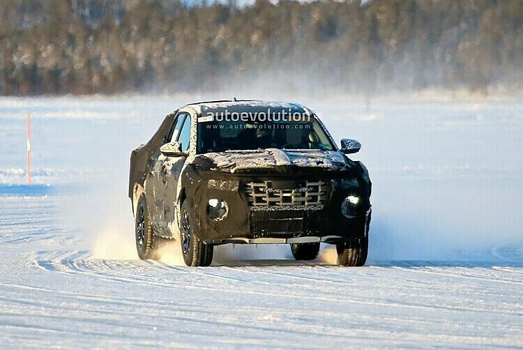 Hình ảnh chạy thử của mẫu bán tải Hyundai ở Vòng Bắc Cực.Ảnh: Autoevolution