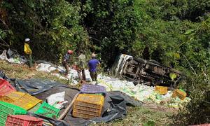 Xe tải chở phân lao xuống vực đèo Bảo Lộc