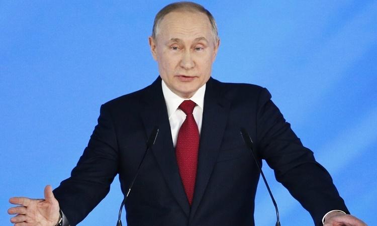 Tổng thống Nga Putin phát biểu trước Hội đồng Nhà nước ngày 15/1. Ảnh: AP.