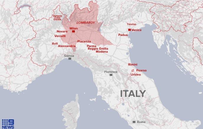 Vùng Lombardy và các tỉnh thuộc diện phong tỏa ở Italy. Đồ họa: 9News