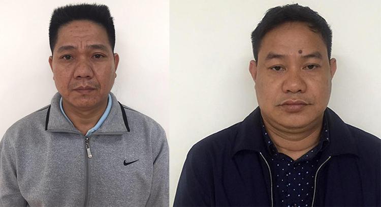 Nguyễn Văn An (trái) và Trần Văn Khangtại cơ quan điều tra. Ảnh: Thùy Linh.
