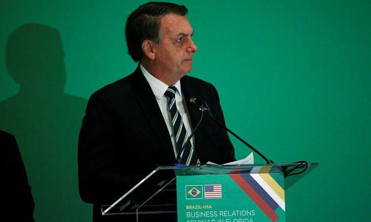 Tổng thống Brazil Jair Bolsonaro phát biểu tại Miami, bang Florida, Mỹ hôm 9/3. Ảnh: Reuters.