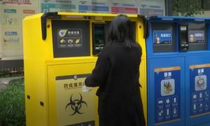 Thùng rác tái chế thông minh đựng khẩu trang