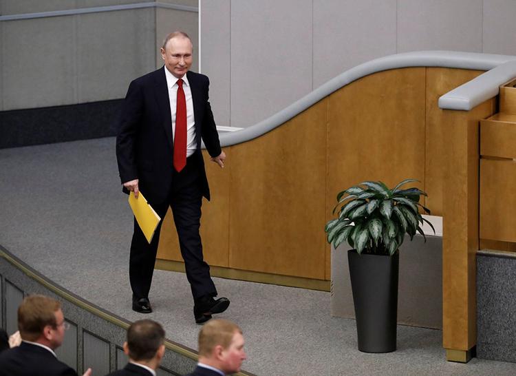Tổng thống Putin tại Hạ viện Nga ở Moskva hôm nay. Ảnh: AP