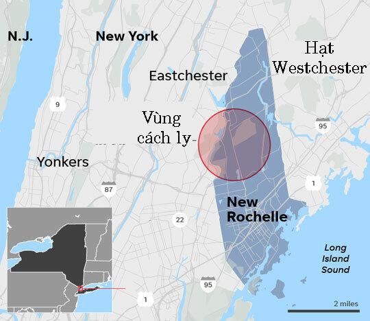 Vùng cách ly (vòng tròn đỏ) ở thành phố New Rochelle. Đồ họa: USA Today.