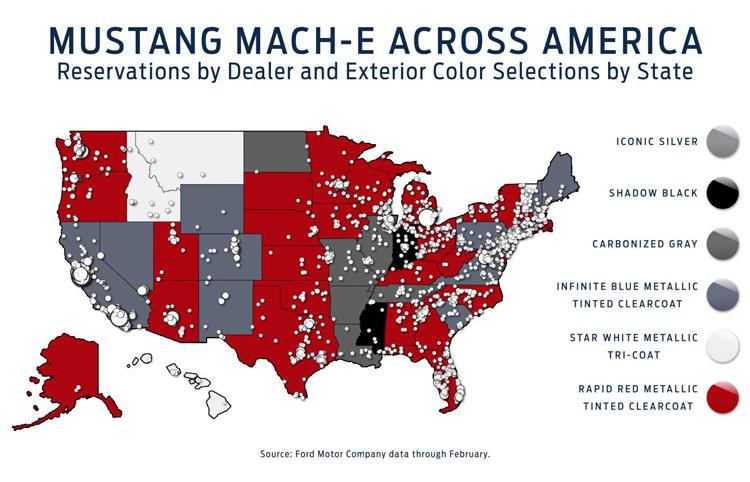 Bản đồ đại lý Ford ở Mỹ và dấu hiệu cho thấy Mach-E được đặt hàng tại tất cả các bang, với màu sắc được ưa chuộng. Ảnh: Ford