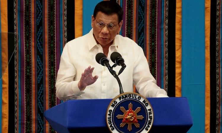 Tổng thống Philippines Rodrigo Duterte phát biểu tại thành phố Quezon hồi tháng 7 năm ngoái. Ảnh: Reuters.