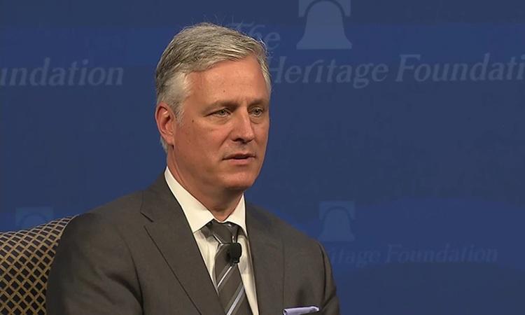 Cố vấn An ninh Quốc gia Mỹ Robert OBrien phát biểutại Quỹ Di sản ở Washington hôm 11/3. Ảnh: CNN.