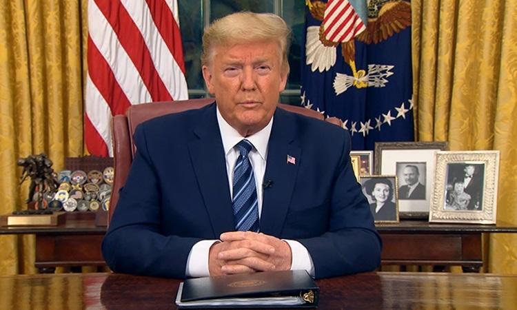 Tổng thống Mỹ Donald Trump phát biểu tại Nhà Trắng tối 11/3. Ảnh: CNN.