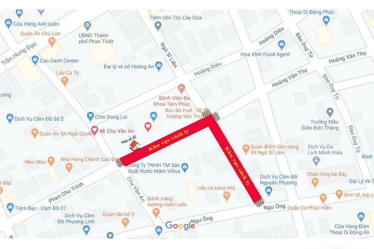 Sơ đồ khu vực hai tuyến đường bị cách ly nCoV tại Phan Thiết, Bình Thuận. Nguồn:Sở Y tế Bình Thuận