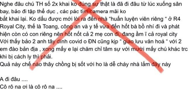 Nội dung sai sự thật trên FB cá nhân của một phụ nữ bị triệu tập.Ảnh chụp màn hình FB