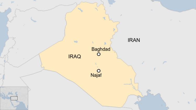 Vị trí thủ đô Baghdad và thành phố Najab của Iraq. Đồ họa:BBC.