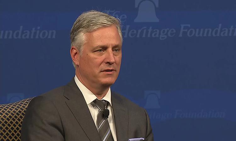 Cố vấn An ninh Quốc gia Mỹ Robert OBrien phát biểu tại Quỹ Di sản ở Washington hôm 11/3. Ảnh: CNN.