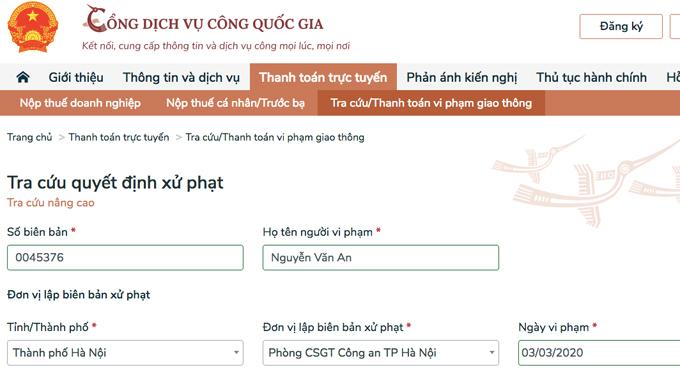 Dao diện thanh toán tiền vi phạm giao thông tích hợp trên cổng dịch vụ công trực tuyến Quốc gia.