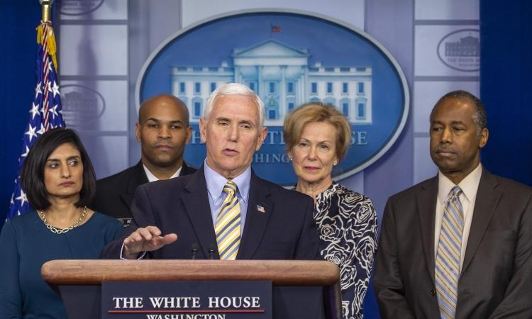 Phó tổng thống Mỹ Mike Pence phát biểu tại cuộc họp ở Nhà Trắng, Washington, hôm 14/3. Ảnh: AFP.