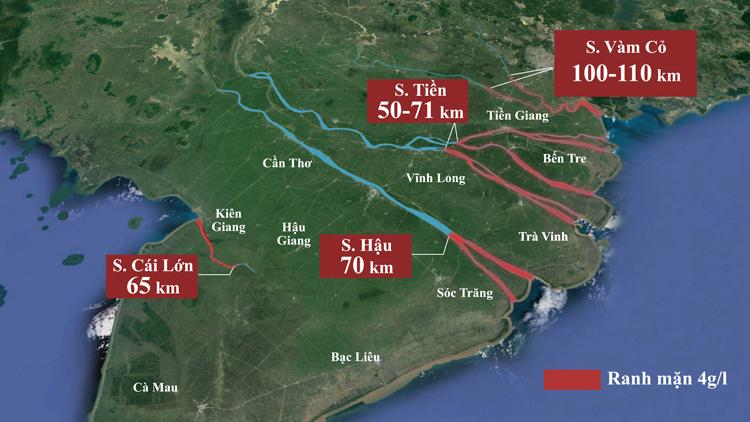 Gữa tháng 3, nước biển xâm nhập vào các con sông lớn ở miền Tây 50-110 km, sâu hơn năm 2016 từ 2 đến 8 km. Ảnh: Thanh Huyền.