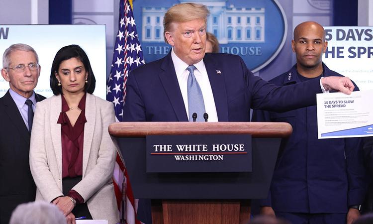 Tổng thống Trump tại họp báo ở Nhà Trắng hôm 16/3. Ảnh: AFP.