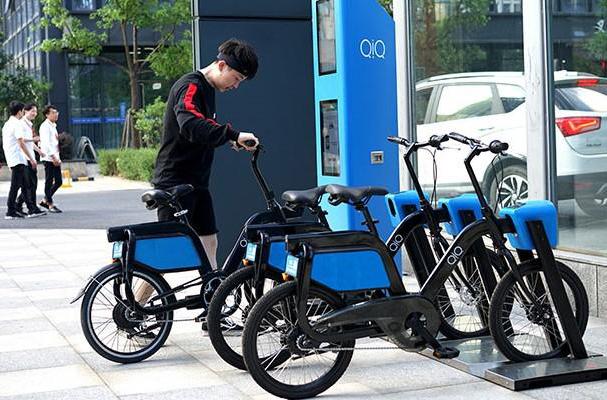 Xe đạp điện trợ lực thông minh tại một trạm sạc. Ảnh nhà đầu tư cung cấp.
