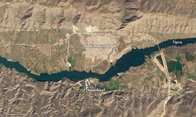 Ảnh vệ tinh ngày 17/3/2020 cho thấy thị trấn cổ đại sắp ngập bởi đập nước mới. Ảnh: NASA.